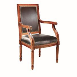 Langston Square Back Arm Chair in Walnut Finish