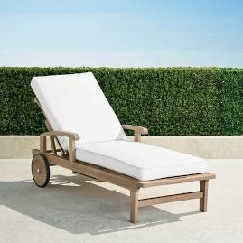Cassara Chaise Lounge with Cushions in Weathered Finish