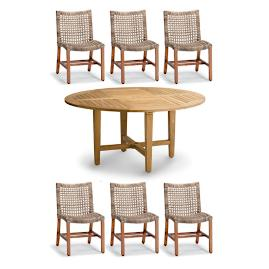 Isola 7-pc. Round Dining Set in Natural Finish