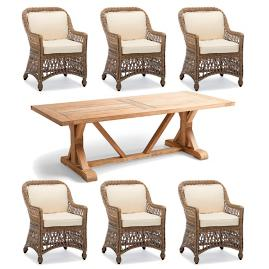 Hampton Wash Teak 7-pc. Dining Set in Driftwood