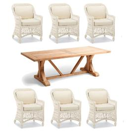 Hampton Wash Teak 7-pc. Dining Set in Ivory