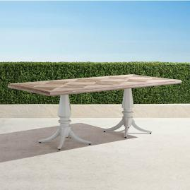 Avery Teak Top Dining Table in White Finish