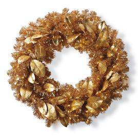 Gold Magnolia Leaf Cordless Wreath