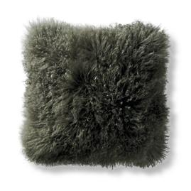 Mongolian Fur Square Decorative Pillow in Olive