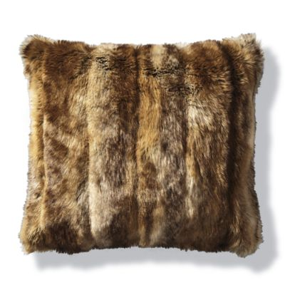 Luxury Faux Fur Pillow in Coyote | Frontgate