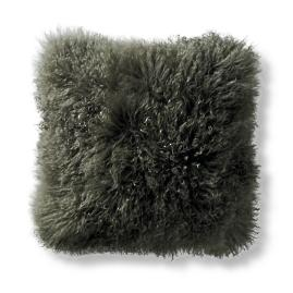 Mongolian Fur Decorative Square Pillow Cover in Olive