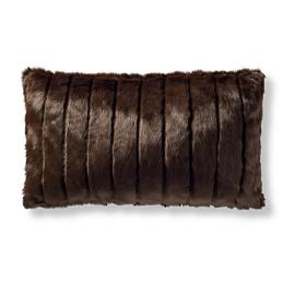 Luxury Faux Fur Lumbar Pillow Cover in Channeled