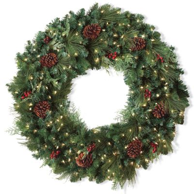 """High End Luxe FRONTGATE Christmas Holiday Wreath 30"""" with LED Colored Lights"""
