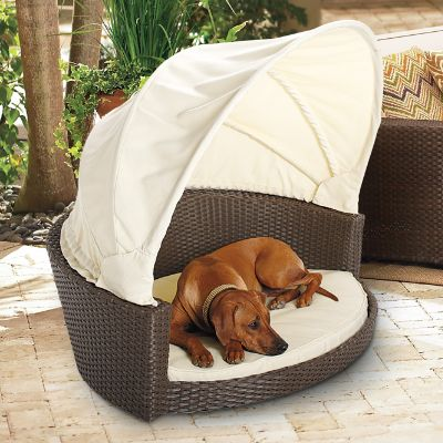 outdoor wicker pet bed with canopy frontgate rh frontgate com black dog outdoor furniture black dog outdoor furniture
