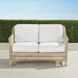 Hampton Loveseat with Cushions in Ivory Finish