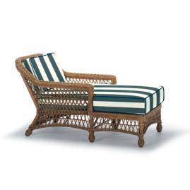 Hampton Chaise Lounge with Cushions in Driftwood Finish