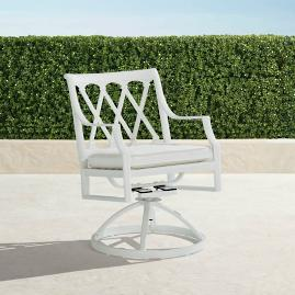 Grayson Swivel Dining Arm Chairs in White Finish,
