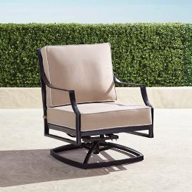 Grayson Swivel Lounge Chair with Cushions in Black