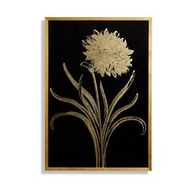 Garden Carnation Gilded Silkscreen Botanical Print on Black