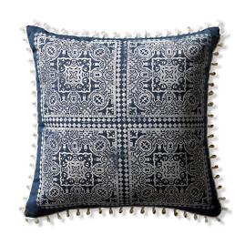 Moroccan Loop Block Print Indoor/Outdoor Pillow in Indigo