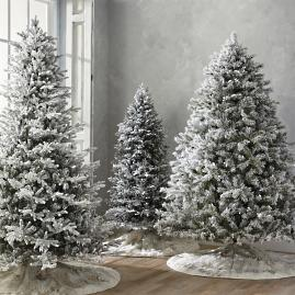 Flocked Norway Spruce Artificial Christmas Trees with Meteor