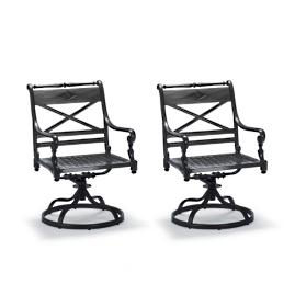 Carlisle Swivel Dining Arm Chairs In Onyx Finish,