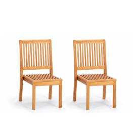 Cassara Stacking Side Chairs In Natural Finish, Set
