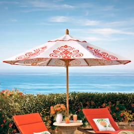 Resort Chic Peony Designer Umbrella