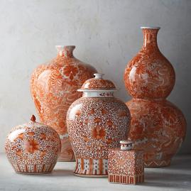 Coral and White Chinoiserie Ceramic Collection
