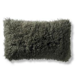 Mongolian Fur Decorative Lumbar Pillow in Olive