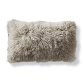 Mongolian Fur Decorative Lumbar Pillow in Silver