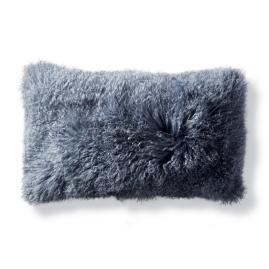 Mongolian Fur Decorative Lumbar Pillow in Stone Blue