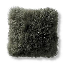 Mongolian Fur Decorative Square Pillow in Olive