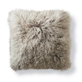 Mongolian Fur Decorative Square Pillow in Silver