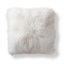 Mongolian Fur Decorative Square Pillow in White