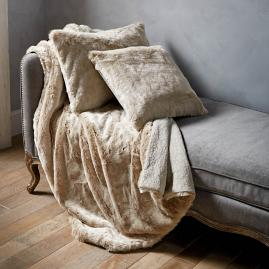Fashion Faux Fur Matelassé Throw in Taupe