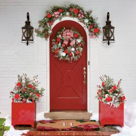 Frosted Holiday Cordless Outdoor Greenery Collection