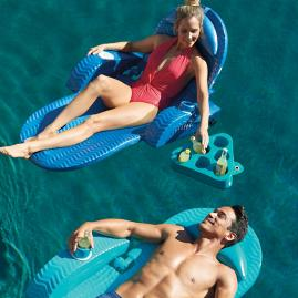 Extra-Large Adjustable Pool Chaise with Kool Kan Koozie