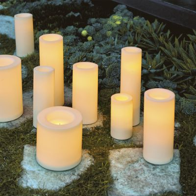 Battery Operated Flameless Outdoor, Outdoor Flameless Candles With Remote