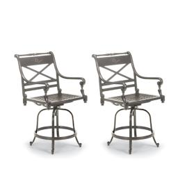 Set of Two Carlisle Swivel Bar Stools in