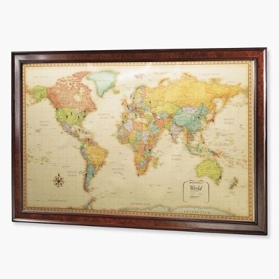 World magnetic travel map with burlwood frame frontgate gumiabroncs Gallery