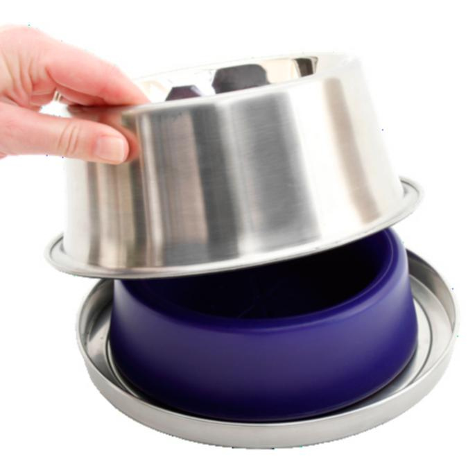 Cat Supplies Stainless Steel & Non-toxic Pp Plastic Cat Bowl Set Of Two For Cats And Dogs