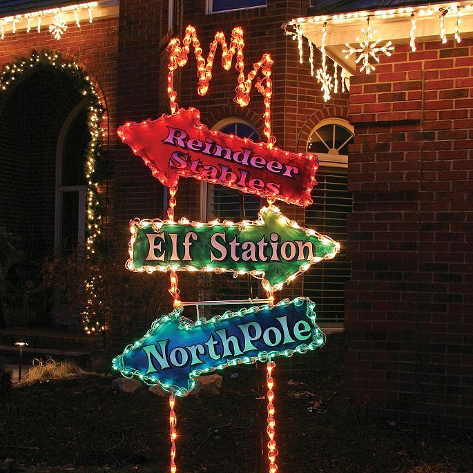 Christmas Arrow Signs.Lighted Arrow Post 8 Ft Sign