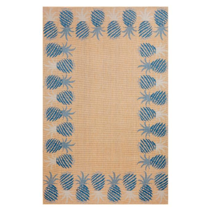 Tommy Bahama Blue Pineapple Border Outdoor Rug
