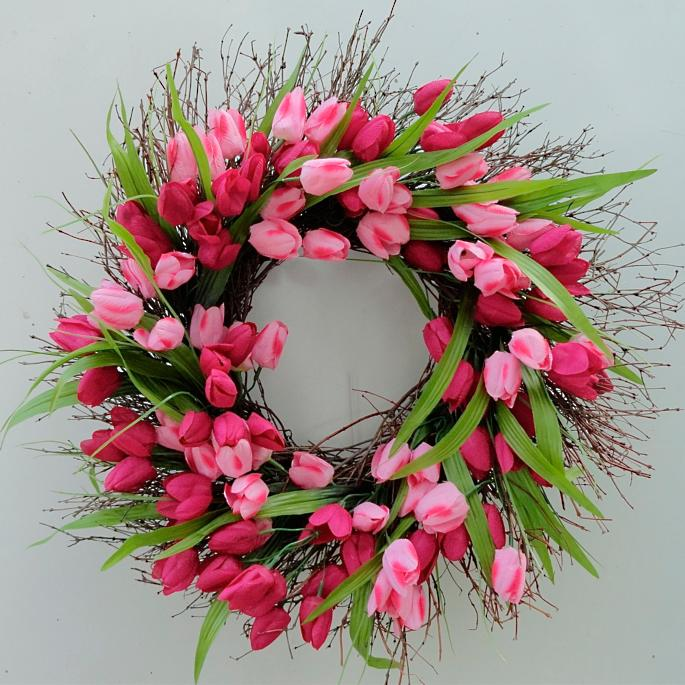 Pink Tulip Wreath Frontgate