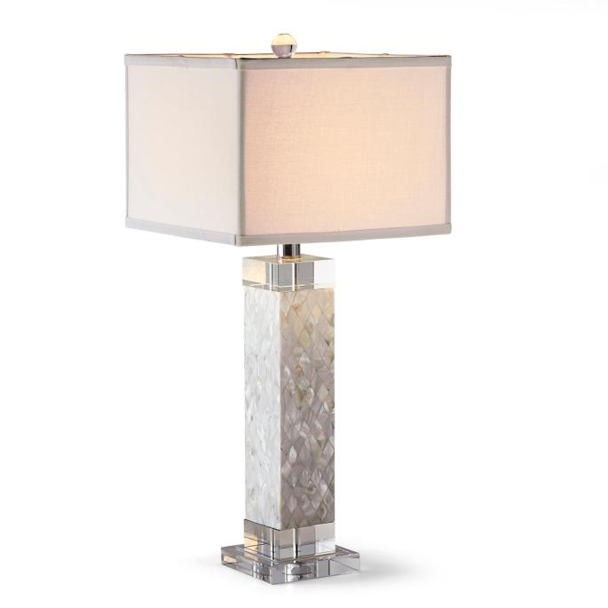 Diamond Mother Of Pearl Square Column Table Lamp Frontgate