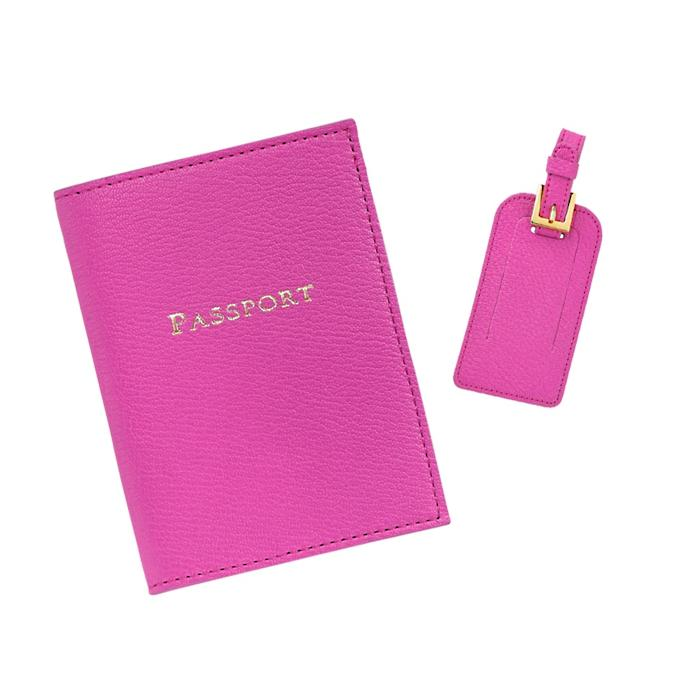 061bf9874db5 Monogrammed Leather Luggage Tags and Passport Holder