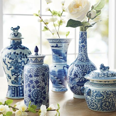 blue ming vases set of five - Ming Vase