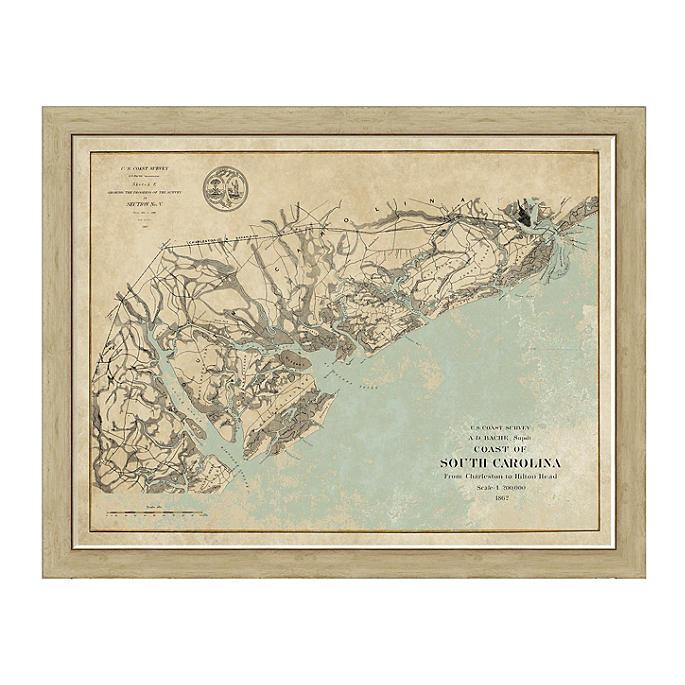 Coast Of South Carolina Map.South Carolina Coast Framed Map Frontgate