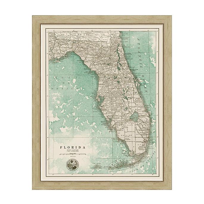 Florida Sepia Framed Map Frontgate