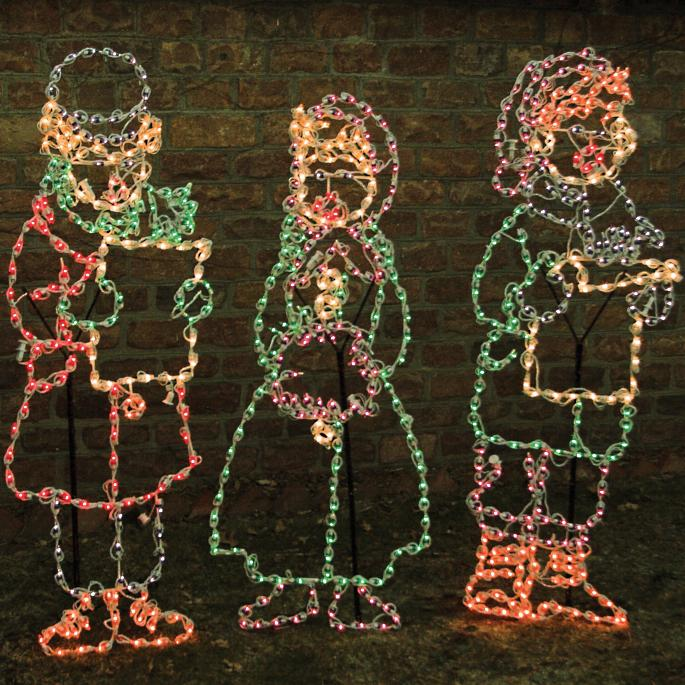 Christmas Carolers Yard Decorations: Set Of Three Lighted Carolers