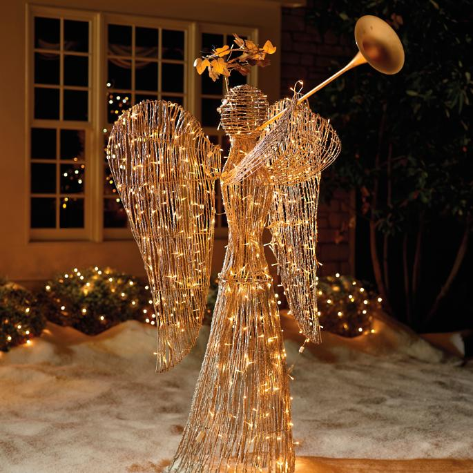 Lighted Rattan 6 Ft Trumpet Angel Frontgate