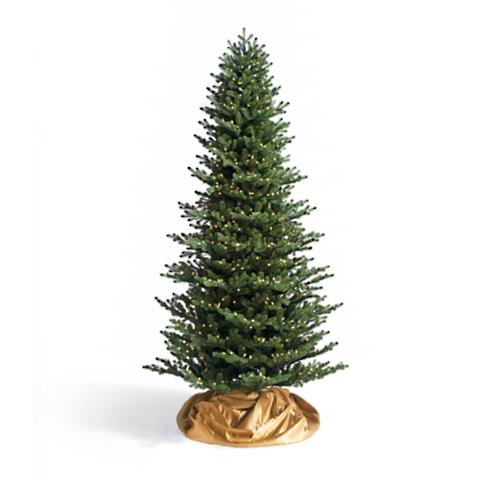 Rosewood Pine Slim Artificial Christmas Tree with Commercial Lights ...