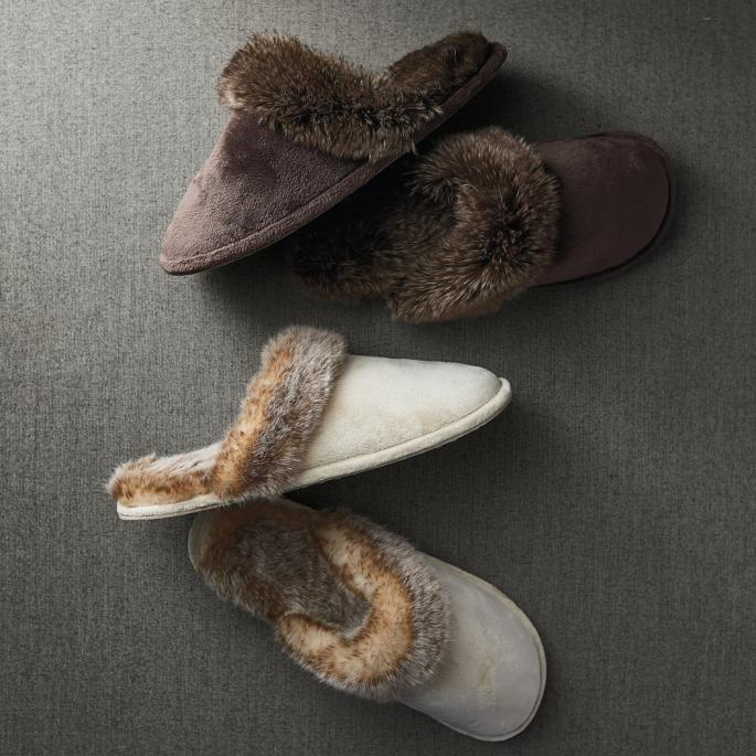 Faux Fur Slippers Frontgate