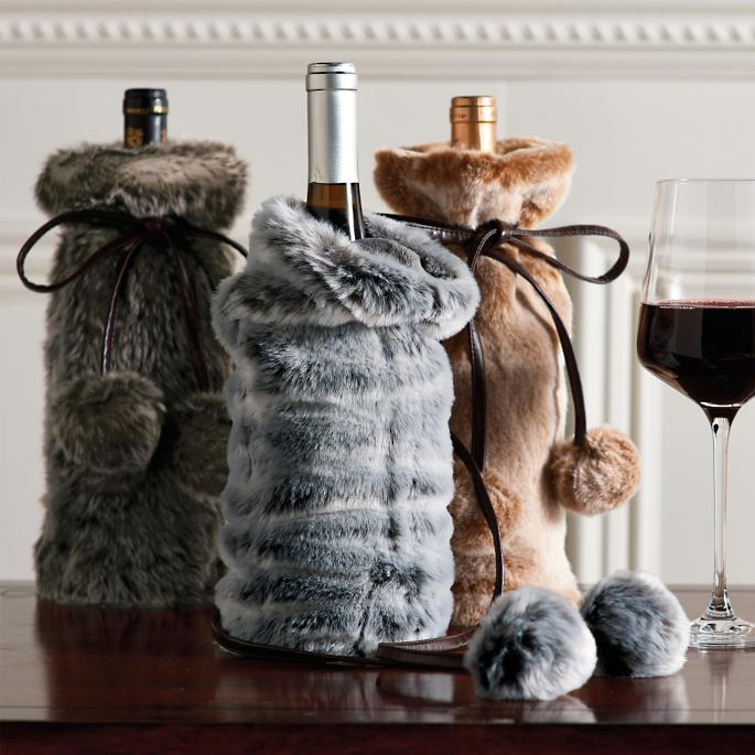Faux Fur Wine Bottle Covers, Set of Three   Frontgate 0ac58df45d